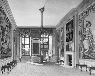 Queen's Levée Room, St James's Palace  from The History of he Royal Residences by WH Pyne (1819)