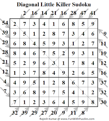 Diagonal Little Killer Sudoku (Fun With Sudoku #128) Puzzle Solution