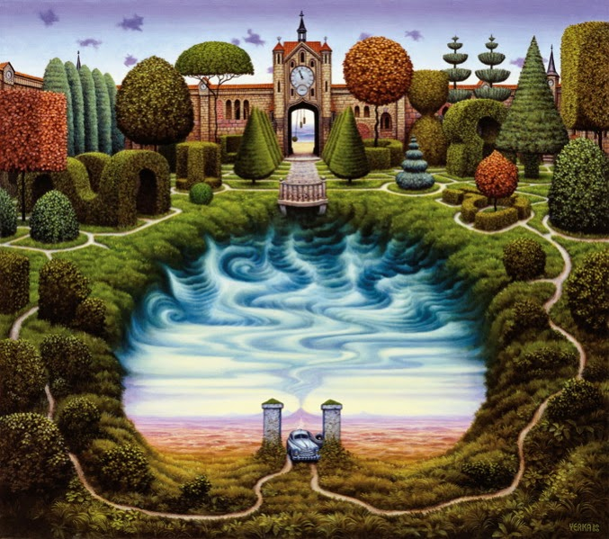 18-The-mystery-garden-Jacek-Yerka-Surreal-Paintings-Parallel-Universes-www-designstack-co