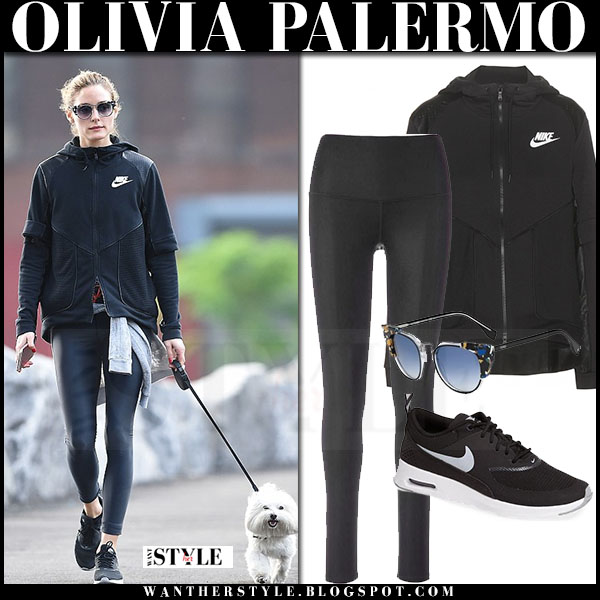 Olivia Palermo in black Nike jacket, black alo yoga leggings and black nike air max thea sneakers what she wore streetstyle