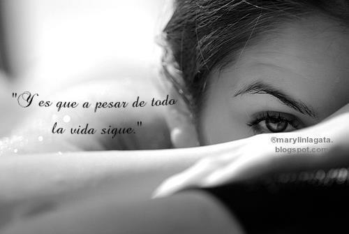 """En mi mesita de noche siempre guardo un libro de Neruda   que me encanta y lo leo bastante a menudo.  Hoy quiero resaltar un verso que siento especialmente:    """"La misma noche que hace blanquear los mismos árboles"""".  """"Nosotros, los de entonces ya no somos los mismos""""    Algunas veces en nuestra vida conocemos a personas que nos tocan el corazón  y les prometemos que nunca va a cambiar nada entre nosotros,  que todo va a estar siempre como en ese momento tan especial  en el que las miradas hablan por si solas.  Lo cierto es que la vida da muchas vueltas y que las situaciones nos cambian.  No dejamos de querer, si no que las cosas son diferentes.    Me ha costado mucho darme cuenta y aceptar esas cosas.  En este último bajón, me he dado cuenta de que necesitaba estar sola   y ver que puedo con lo que me pasa.  Me ha costado un poco pero al final parece que las cosas   más o menos han vuelto a su cauce.    También he recordado otra que tenía aprendida   pero que a veces se me olvida un poco.  """"Y es que a pesar de todo la vida sigue.""""  -Neruda"""