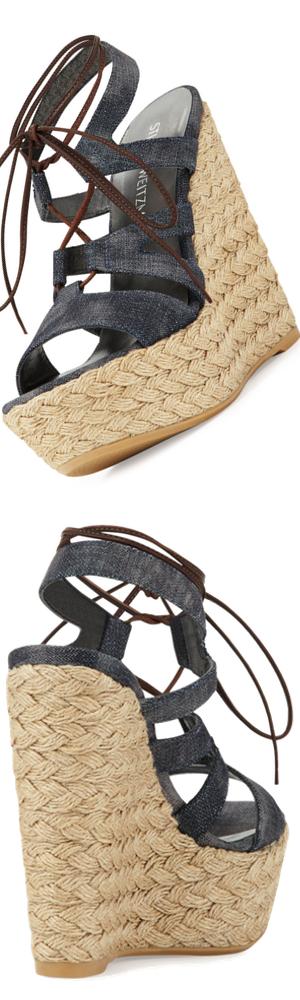 Stuart Weitzman Tie Girl Bingo Denim Platform Sandal, Navy
