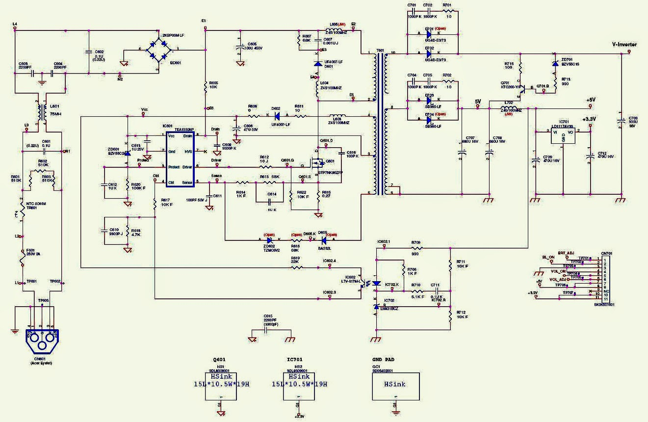 Acer X203h Monitor Smps Schematic Power Supply Circuit Diagram Control Integrated Powersupplycircuit