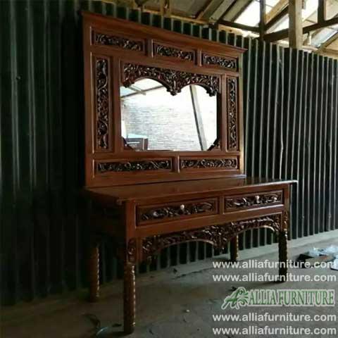 meja rias kayu jati ukiran model altar