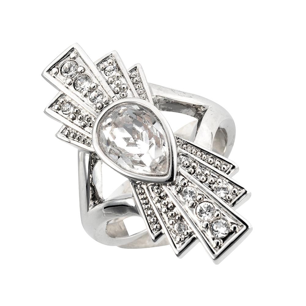 Cristalina Gatsby Art Deco Double Fan Swarovski Crystal Ring: Wedding Ring Art Deco Adver At Reisefeber.org