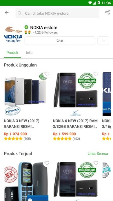 Profile Toko Handphone Nokia e-Store di Tokopedia.