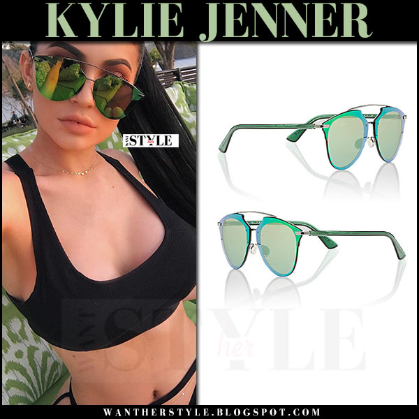 Kylie Jenner with green mirrored sunglasses Dior Reflected P what she wore 2017