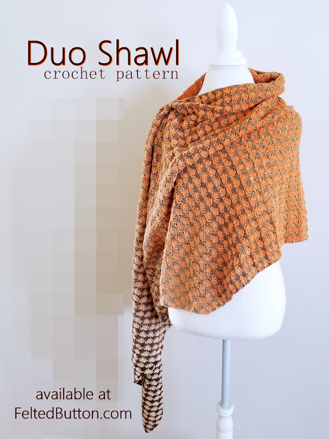 Duo Shawl Crochet Pattern by Susan Carlson of Felted Button