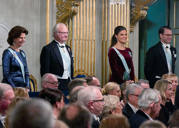 Crown Princess Victoria wore Filippa k  Faux Fur Jacket, Princess Madeleine wore Tiffany Rose Eden long maternity gown