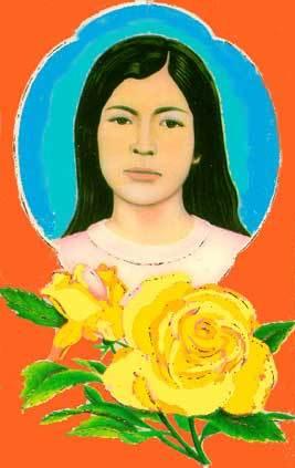 Dibujo de Sarita Colonia con rosas amarillas