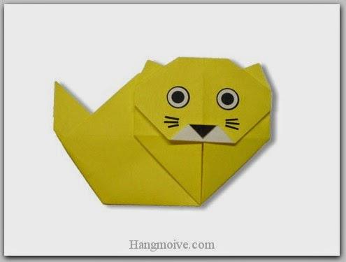 Cách gấp, xếp con mèo ba tư bằng giấy origami - Video hướng dẫn xếp hình Động vật - How to fold a Persian Cat