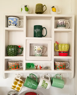 refabulous thrift score shelf repurposed into coffee station, coffee mug collection spring green theme