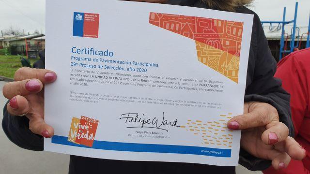 certificado de pavimentación participativa