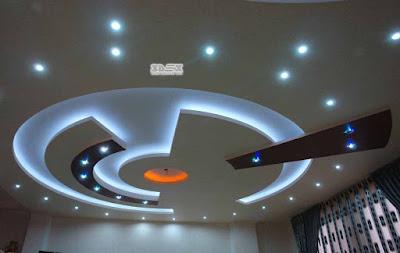 POP ceiling design with LED indirect false ceiling lights