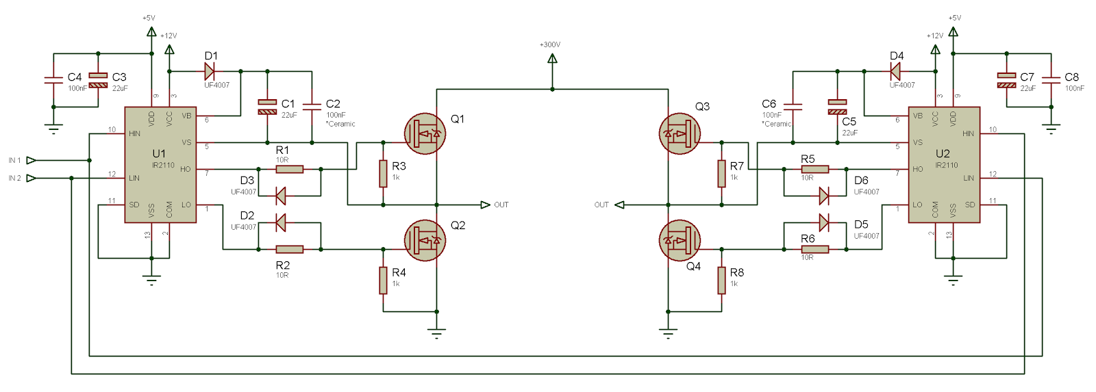 Tahmids Blog Using The High Low Side Driver Ir2110 Explanation For Circuit Diagram And Other Details Click Here 8 Voltage Full Bridge Drive With Tied Switch Control 2 Input Signals On Image To Enlarge
