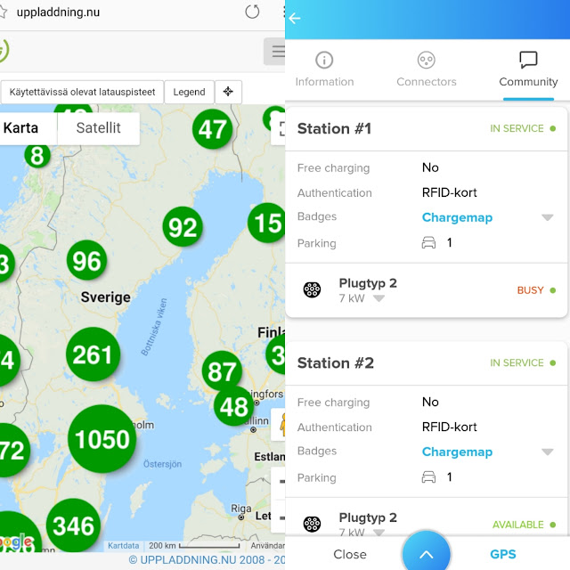 Uppladdning.nu and Chargemap showing status