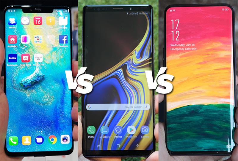 Huawei Mate 20 Pro vs Samsung Galaxy Note 9 vs OPPO Find X Specs Comparison