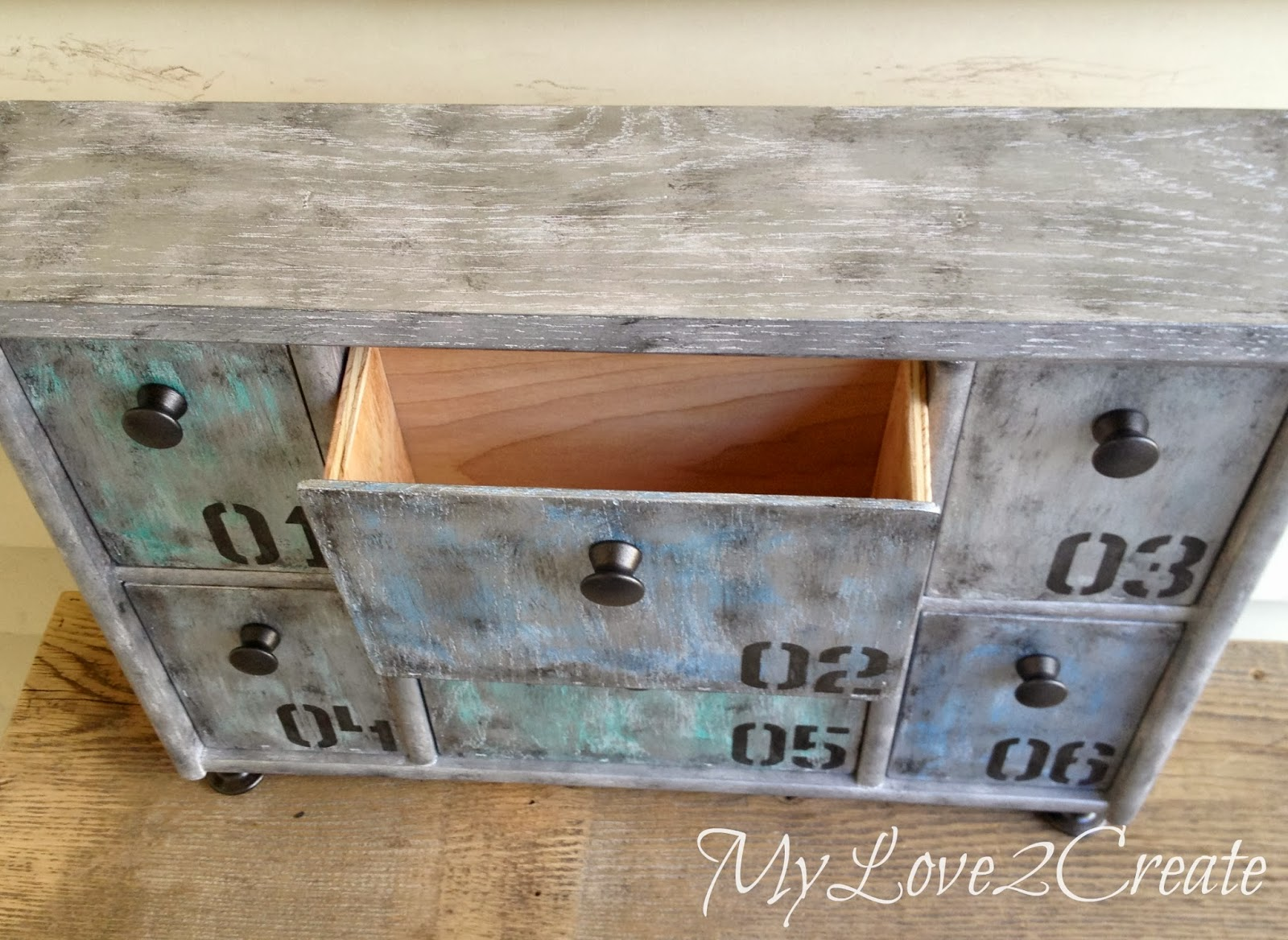 Faux-Metal-Upcycled-Shelf with drawer open