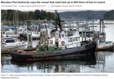 tug sinks near nanaimo
