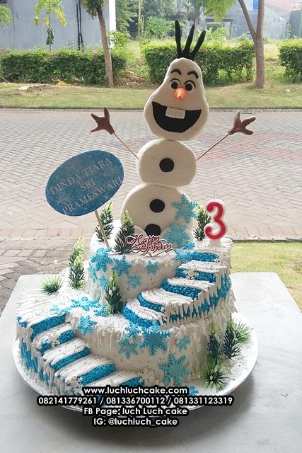 Kue Tart Olaf Frozen Tingkat 3 Fondant