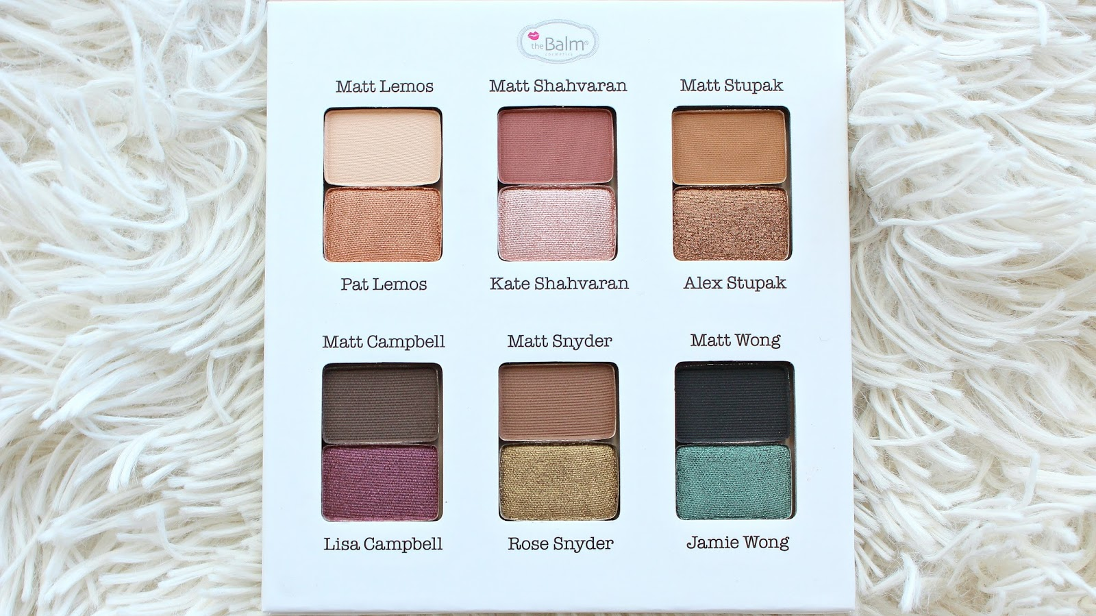 the balm meet matte palette swatches of color