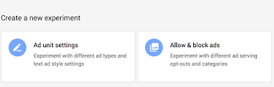 Google AdSense experiment types