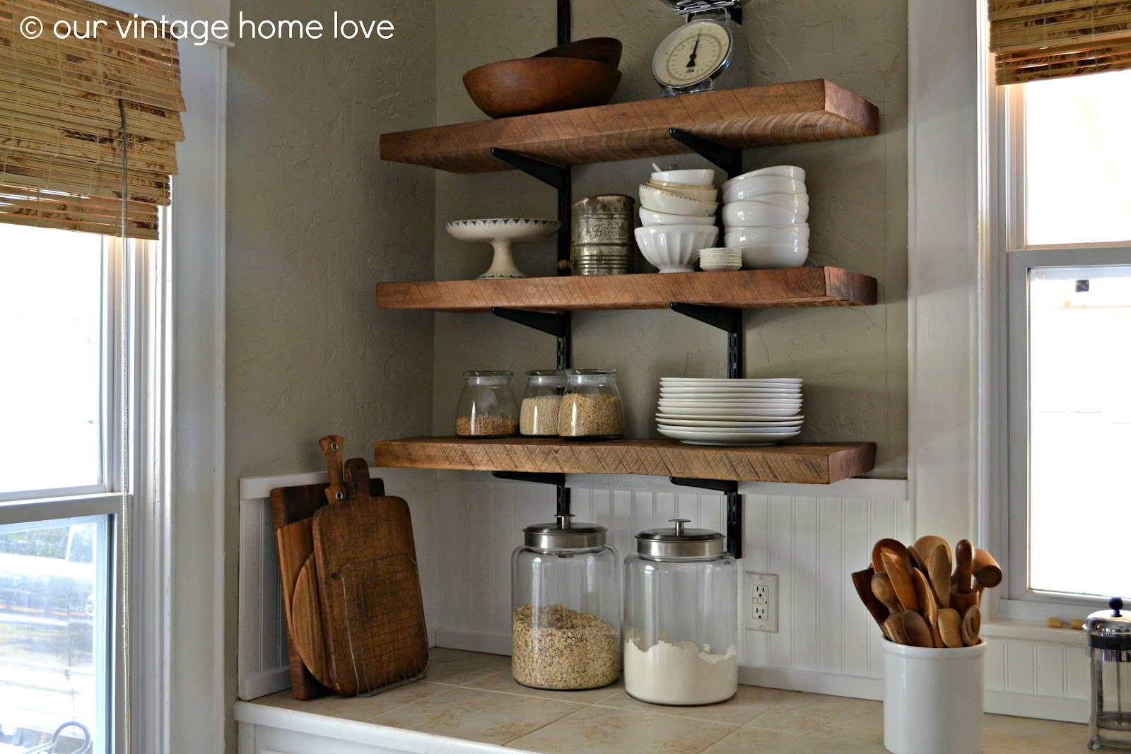 kitchen wall shelf wood hoods vintage home love reclaimed shelving reveal