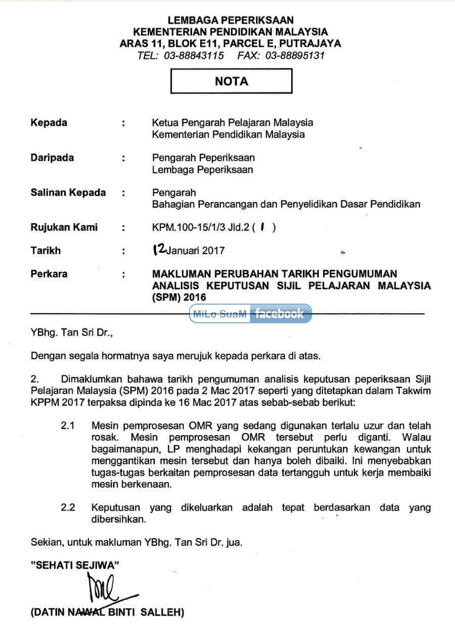 Spm 2016 Results Release Date 16 March 2017 Thursday