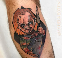 tatuaje para halloween chucky old school