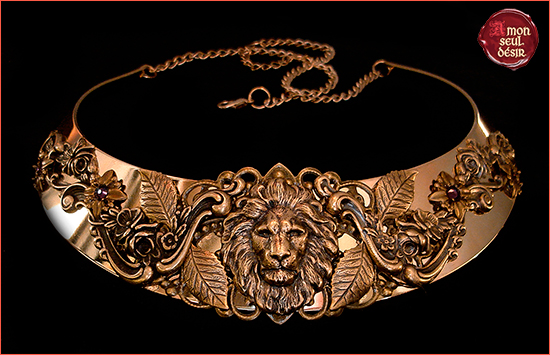 Lion Necklace Bronze Aslan Narnia Jewelry Leo Medieval Torc Renaissance Jewellery The Beauty and the Beast