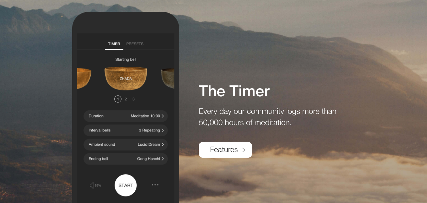 Insight timer 練習冥想計時器 App,包含 6000 個免費冥想課程