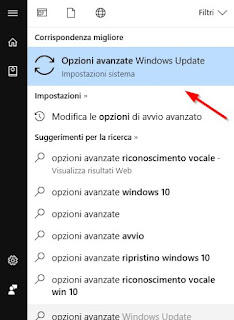 opzioni avanzate windows 10