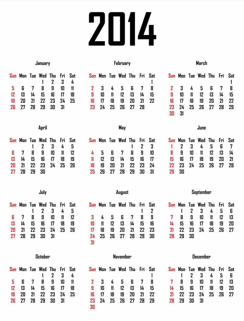 Printed Calendar 2014: Free Desktop Calendar 2014 for