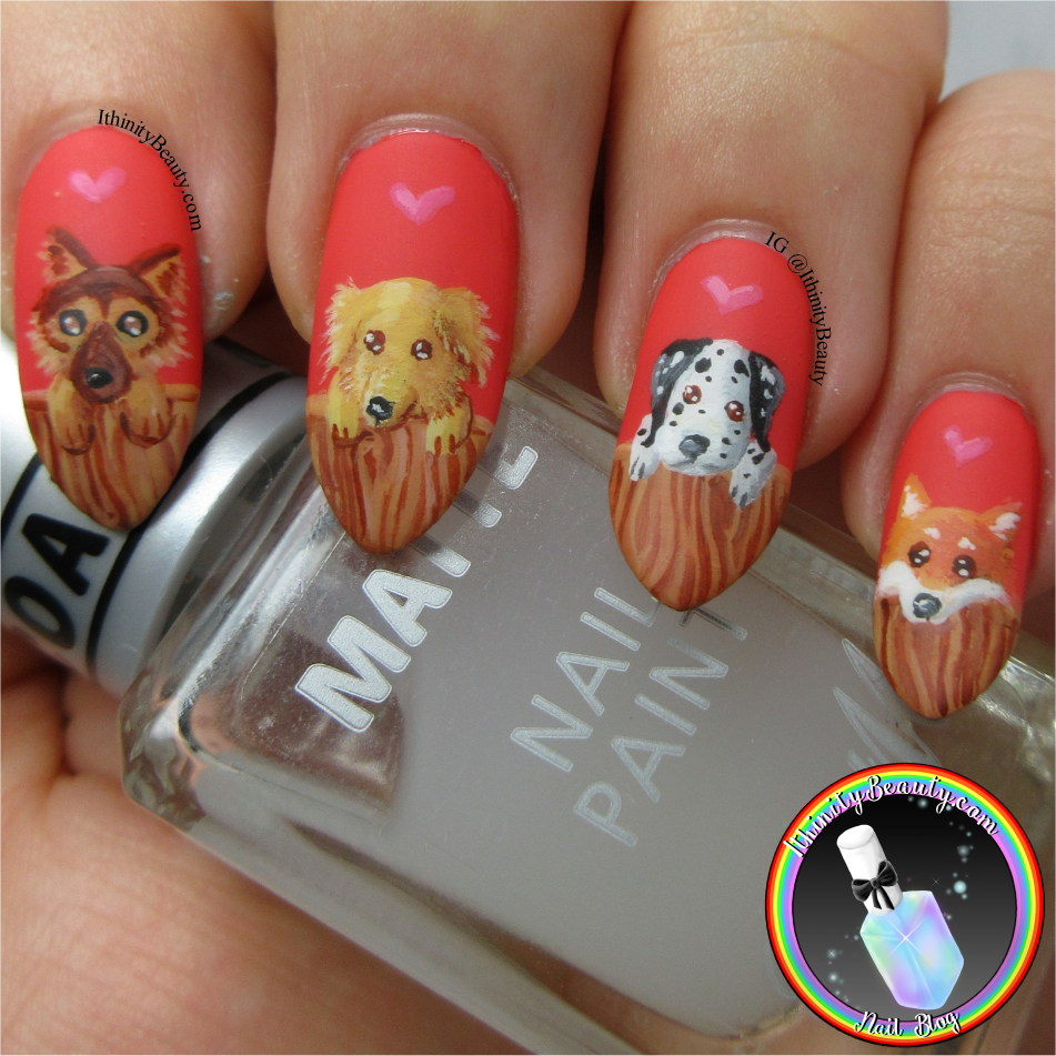 Freehand Puppy Nail Art Design | IthinityBeauty.com Nail Art Blog
