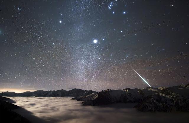 Meteoro da chuva Geminidas em Monte Balang, na China - NASA - Alvin Wu