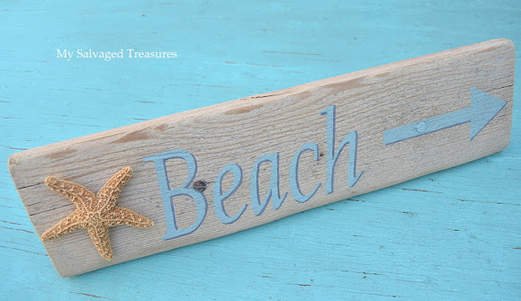 make a faux driftwood beach sign with an old cement tool