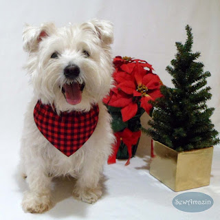 Buffalo Plaid Red Black Dog Bandana, Christmas