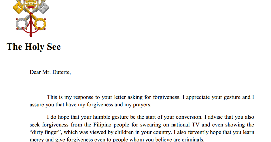 breaking news duterte receives new letter advice from pope francis davao p