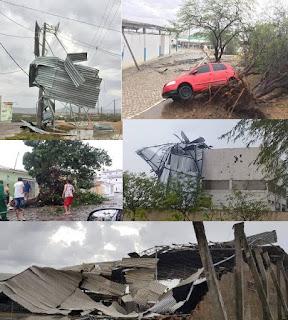 Chuva acompanhada de vento forte causa estragos em Currais Novos