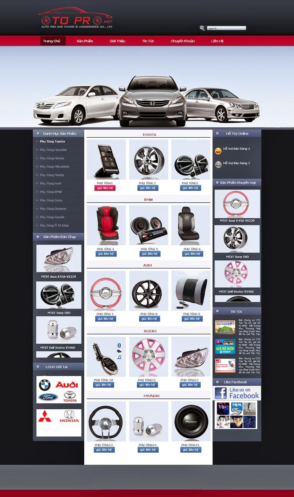thiết kế website phụ tùng chỉnh sửa ô tô