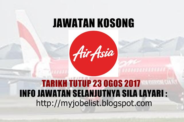 Jawatan Kosong di AirAsia Berhad - 23 Ogos 2017