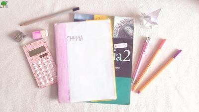 chemia, różowy, róż, chemiczny, nauka, zeszyt, podręcznik, kalkulator, origami, przybory, pegaz