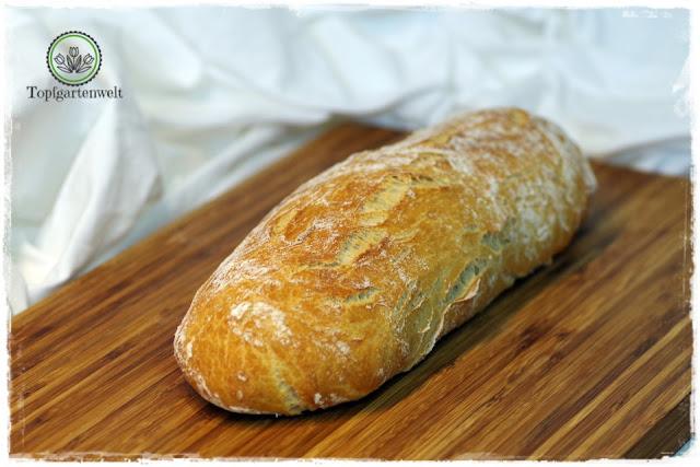 italienisches Ciabatta-Brot mit rescher Kruste gemacht mit Hauptteig und Vorteig für den typischen Geschmack - Foodblog Topfgartenwelt