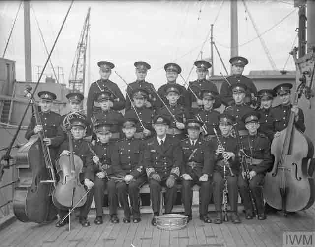 Royal Marine Band on board HMS Cochrane, 16 November 1941 worldwartwo.filminspector.com