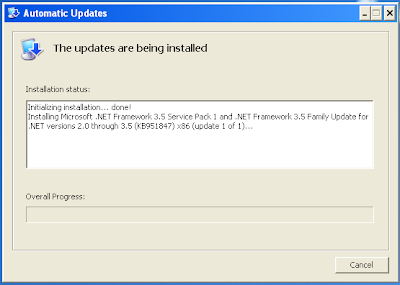 Automatic Updates - The updates are being installed