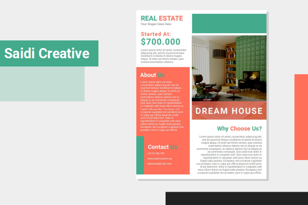 Real Estate Flyer Template Free Download on Microsoft Word File with Red Color