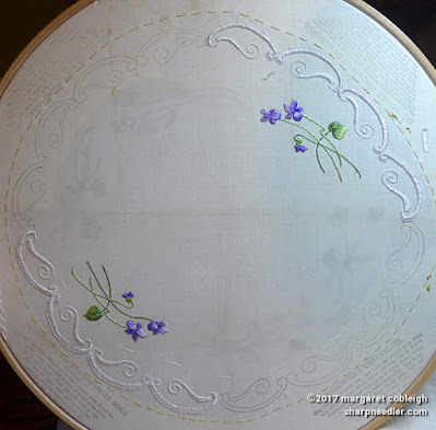 Society Silk Violets: two embroidered violet bunches and half of the edge completed