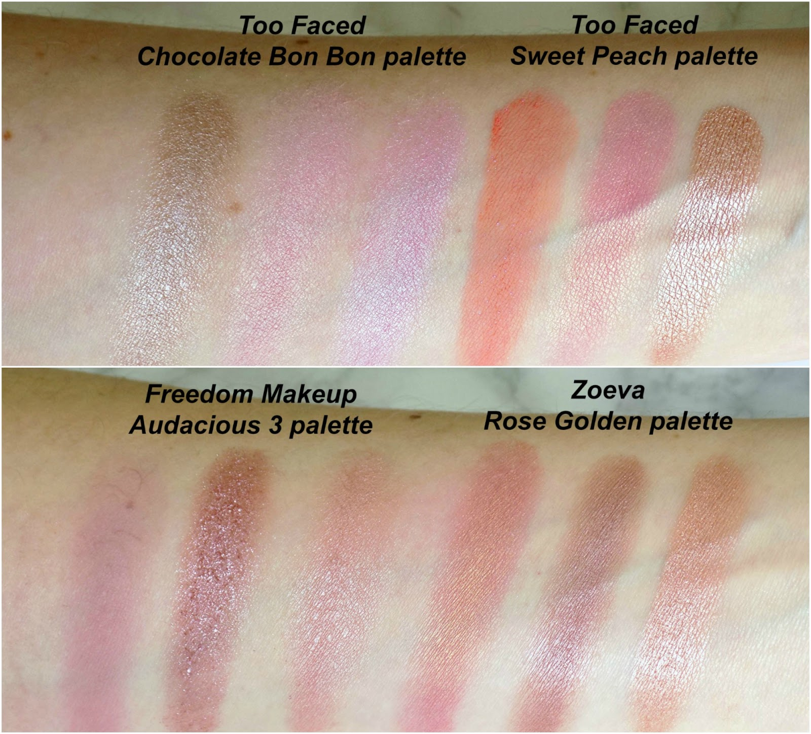 Eyeshadows for Spring swatches