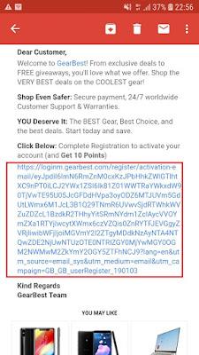 cara verifikasi email di aplikasi gearbest