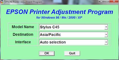 Resetter Epson Stylus C41, C42, C43, C44, C45 Dan C46